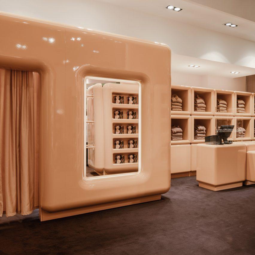 The beige interior of SKIMS pop up store in Paris