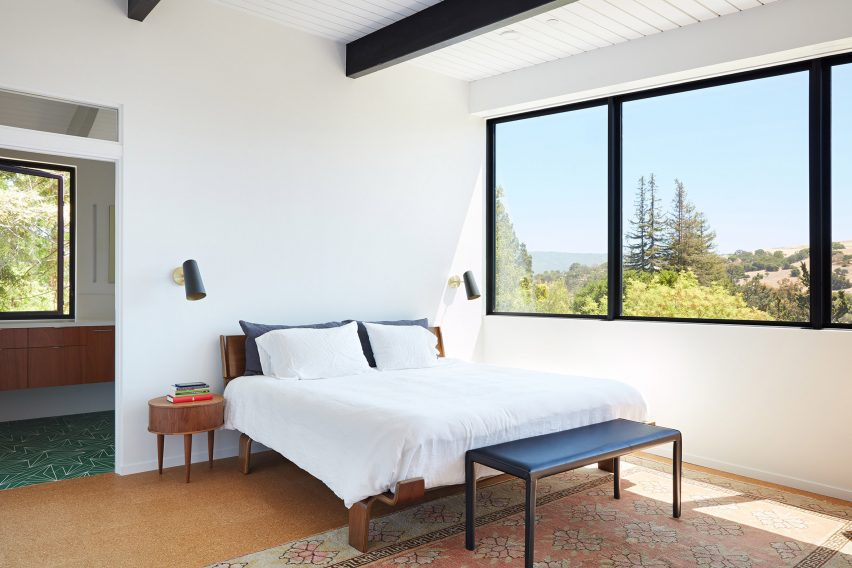 A bedroom at the mid-century home