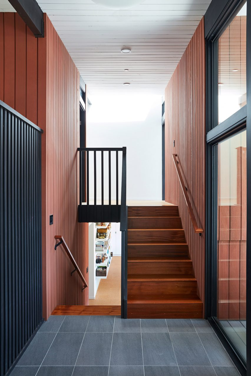 Klopf Architecture added a second staircase to the mid-century renovation