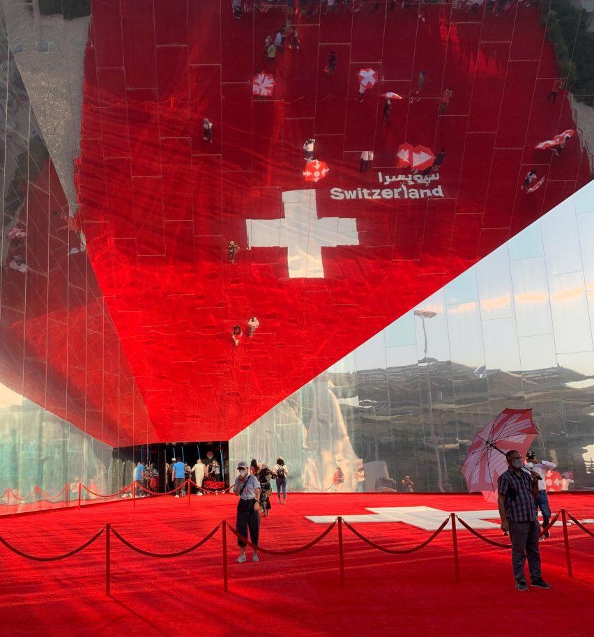 Mirrored facade of Swiss Pavilion