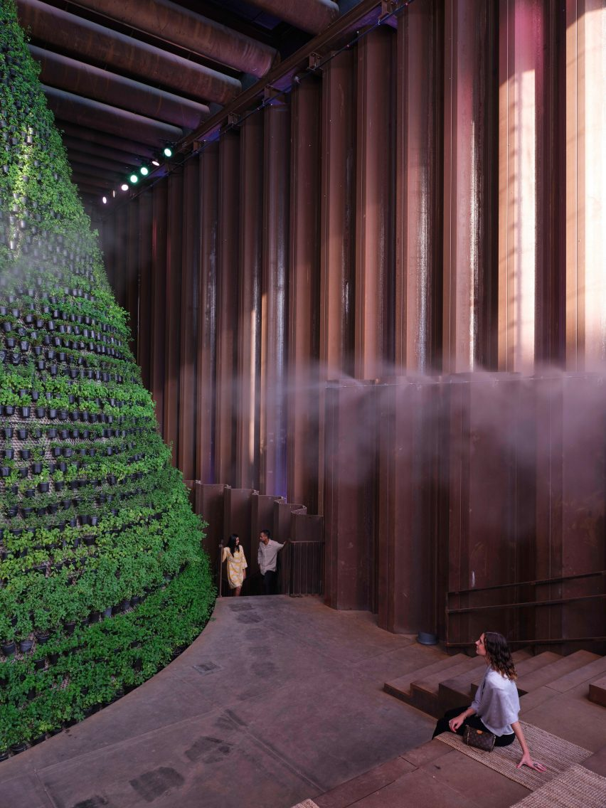 Water misting over a conical garden inside the Dutch Biotope pavilion