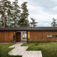 Rough-sawn cedar clads Whidbey Dogtrot house in Washington by SHED